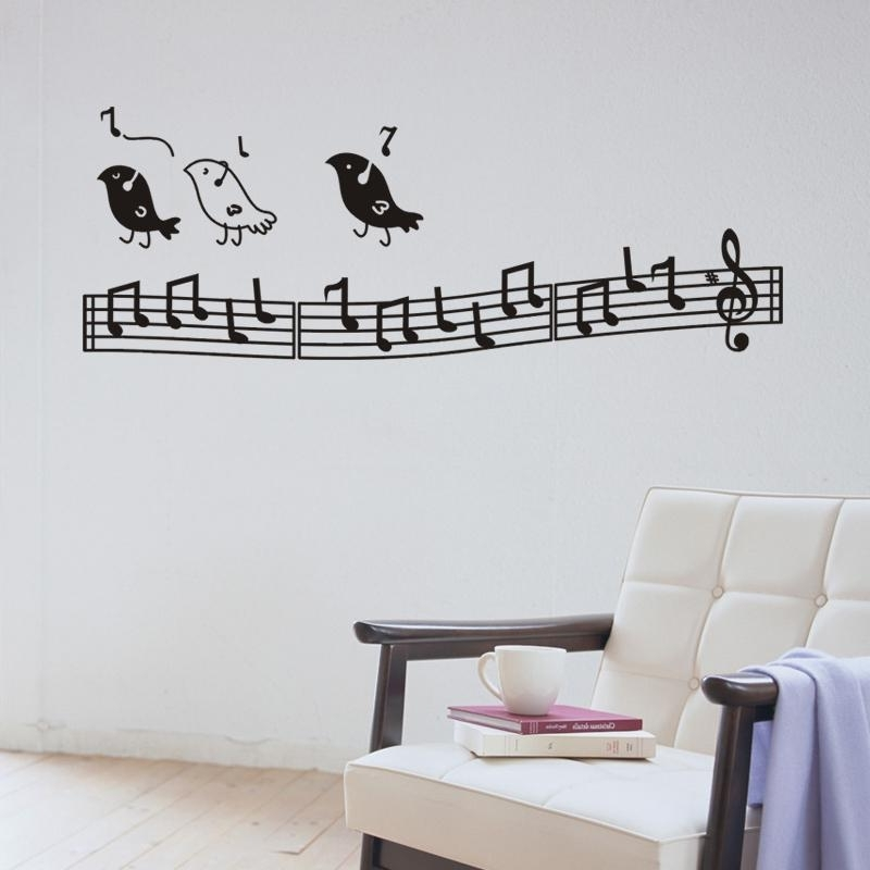 Music Note Art For Walls Pertaining To Best And Newest Wall Music Art Birds Wall Decor Music Notes Wall Decoration Kids (View 8 of 15)