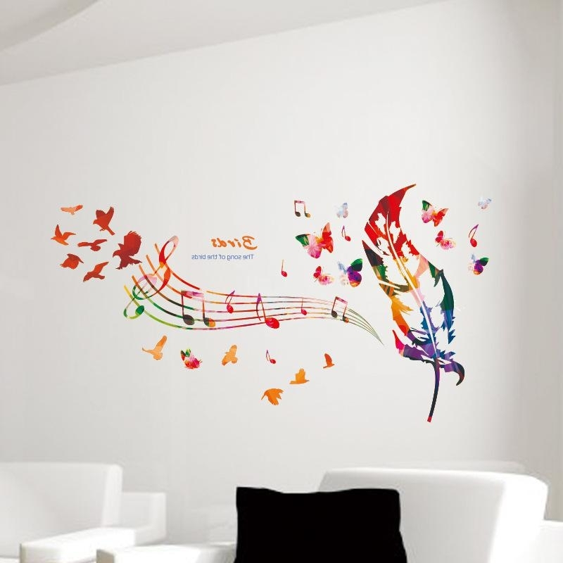 Music Note Colorful Feather Wall Decals Butterfly Pattern The Song With Regard To Popular Music Note Wall Art (View 12 of 15)