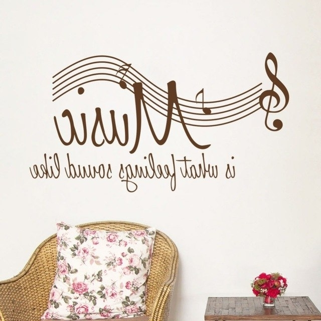 Music Notes Band Room Home Removable Wall Stickers Decals Vinyl Diy For Latest Classroom Vinyl Wall Art (View 9 of 15)
