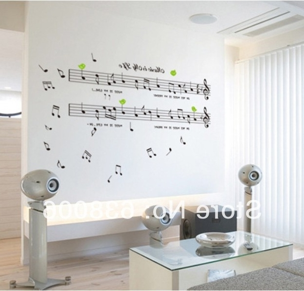 Music Theme Wall Art For Current Free Shipping Diy Art Vinyl Home Decor Waterproof&removable Music (View 7 of 15)