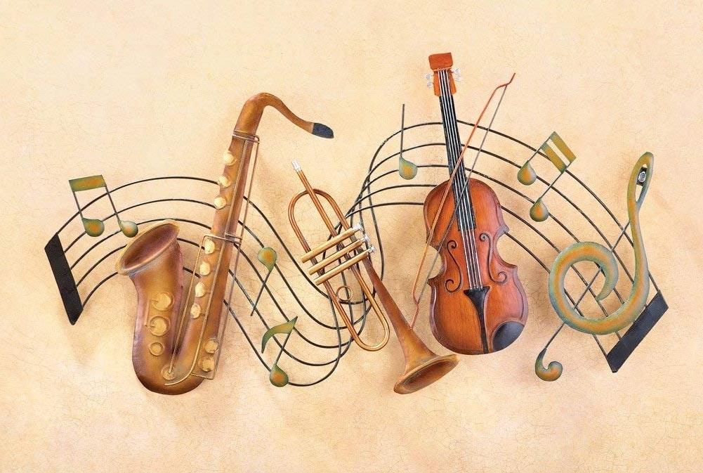 Musical Instrument Wall Art Regarding 2017 Musical Note River + Musical Instruments Metal Wall Art – For Indoor (View 10 of 15)