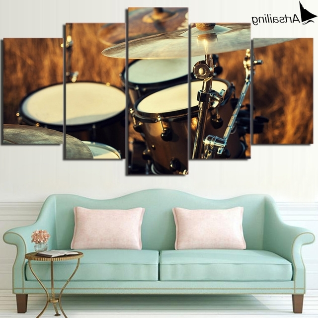 Musical Instrument Wall Art Throughout Newest Hd Printed 5 Piece Wall Art Canvas Painting Music Drum Musical (View 11 of 15)