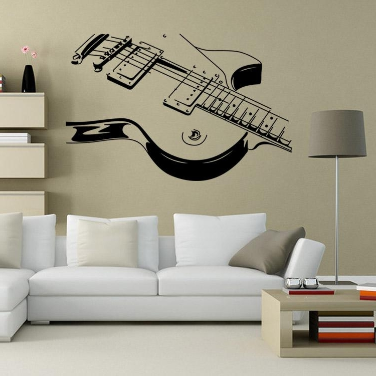 Musical Instrument Wall Art Within Latest Art Guitar Wall Decal Sticker Decoration Musical Instruments Wall (View 12 of 15)