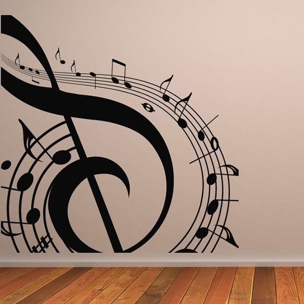Musical Note Wall Sticker Music Wall Art With Regard To Well Liked Music Note Wall Art (View 2 of 15)
