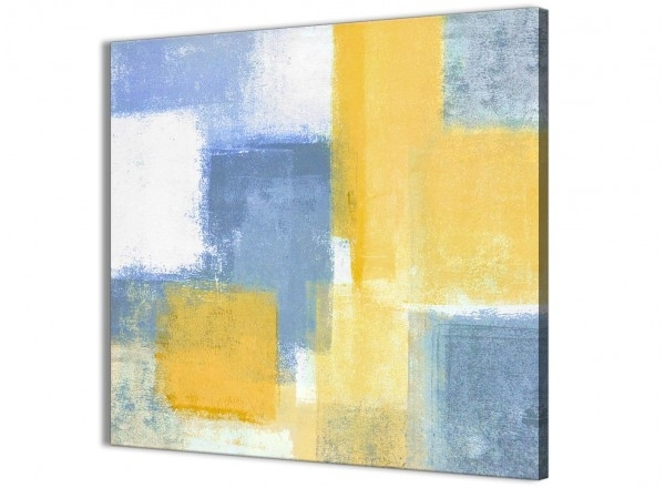 Mustard Yellow Blue Bathroom Canvas Wall Art Accessories – Abstract Pertaining To Best And Newest Abstract Wall Art For Bathroom (View 10 of 15)