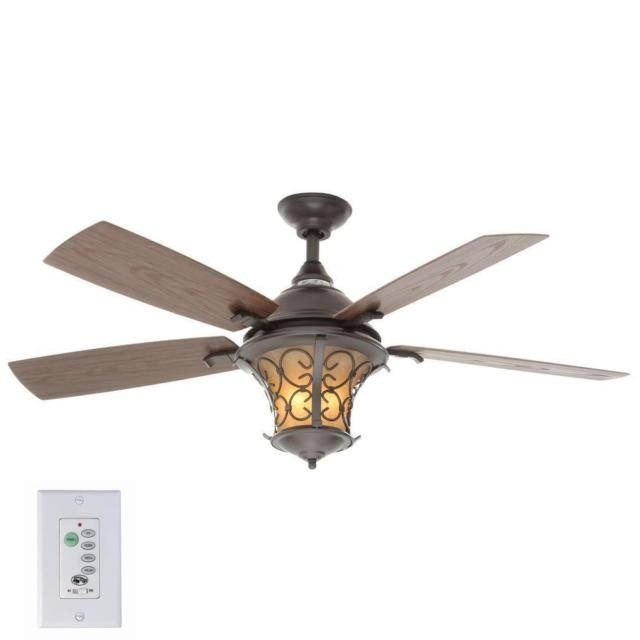 Natural Iron Ceiling Fan Hampton Bay Indoor Outdoor Light Wall Within Favorite Outdoor Ceiling Fans With Lantern Light (View 10 of 15)