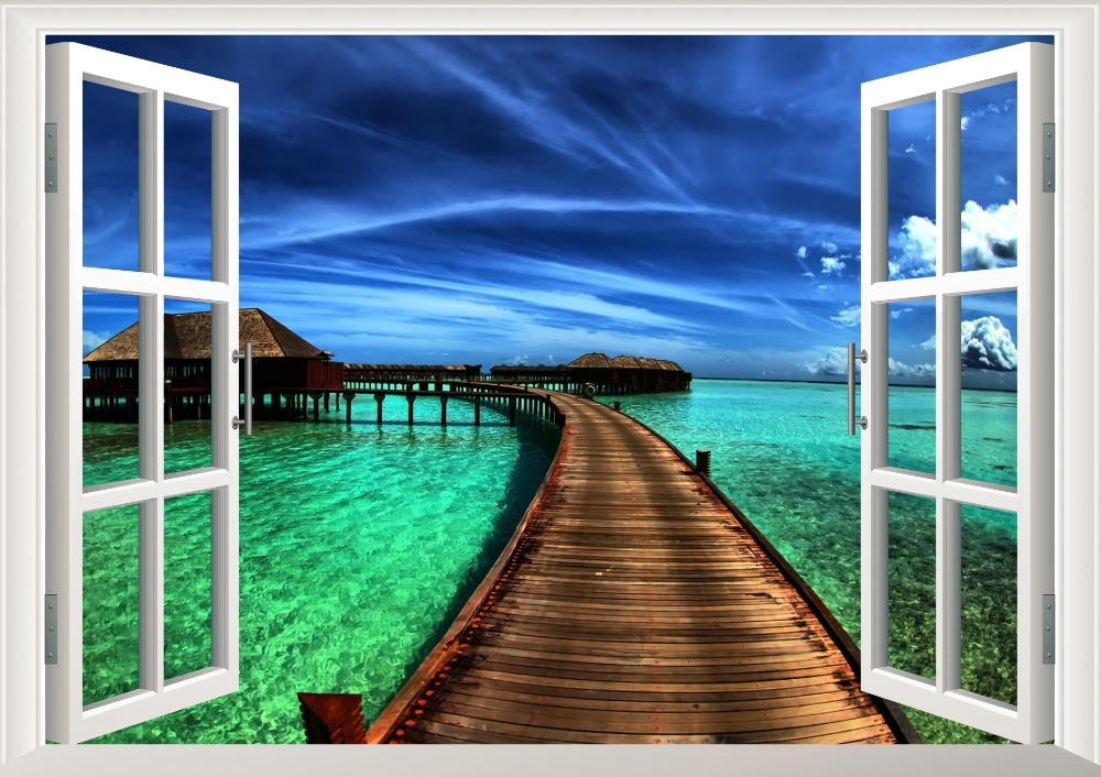 Natural Scenery Resorts Bridge Sea 3D Window Decal Home Decor View In Most Recent 3D Wall Art Window (Gallery 5 of 15)