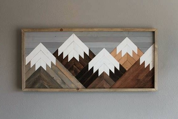 Natural Wood Wall Art For Well Known Natural Wood Wall Art Reclaimed Wood Wall Art Mountain Scene Mantel (View 6 of 15)