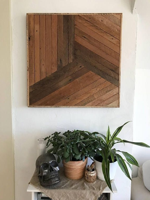"Natural Wood Wall Art Inside Most Current Reclaimed Lath Wood Wall Art 25""x 24"", Natural Wood Geometric (View 7 of 15)"