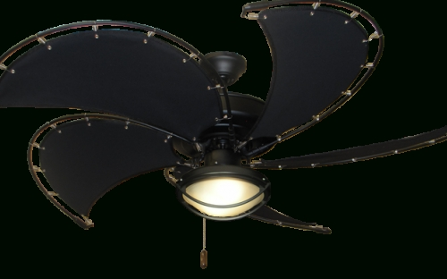 "Nautical Outdoor Ceiling Fans With Lights Intended For Newest Raindance Matte Black Nautical Ceiling Fan W/52"" Spring Frame Fabric (View 5 of 15)"