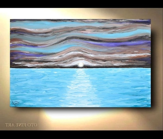 Nautical Wall Art Coastal Beach Decor Abstract Ocean Waves (View 12 of 15)