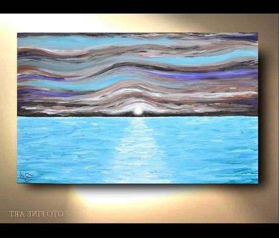Nautical Wall Art Coastal Beach Decor Abstract Ocean Waves (View 5 of 15)