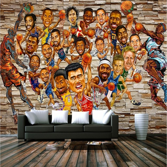 Nba Wall Murals In Popular Personalized Nba Characters 3D Wallpapers Brick Retro Basketball (View 8 of 15)