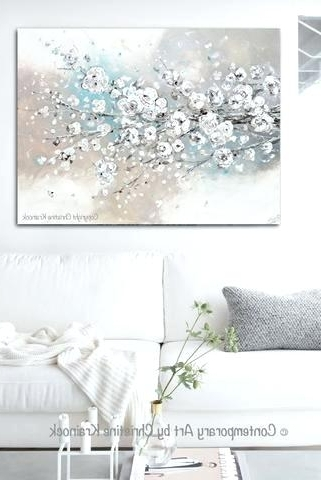 Neutral Wall Art Within 2017 Neutral Wall Art Original Art Abstract Painting White Cherry (View 11 of 15)