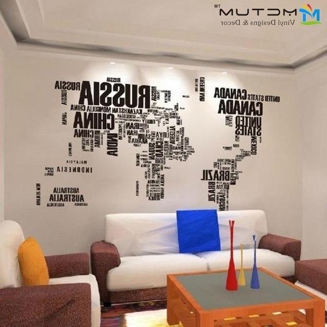 New 2014Global World Map Atlas Vinyl Wall Art Decal Sticker Wall Regarding Current Atlas Wall Art (View 14 of 15)