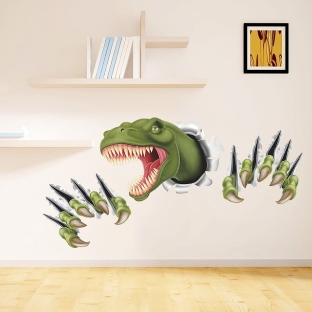 New 3D Stereo Dinosaur Break Through Wall Art Mural Poster Through Pertaining To Newest Dinosaur Wall Art For Kids (Gallery 6 of 15)