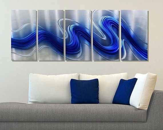 New Blue Silver Modern Metal Wall Sculpture Abstract Regarding Large Pertaining To Most Recently Released Sculpture Abstract Wall Art (Gallery 10 of 15)