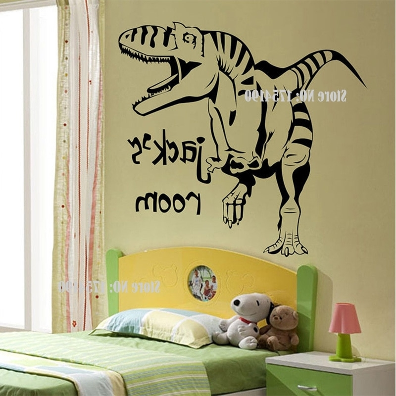 New Cartoon Removable Vinyl Wall Stickers For Kids Rooms With Regard To Current Dinosaur Wall Art For Kids (View 2 of 15)