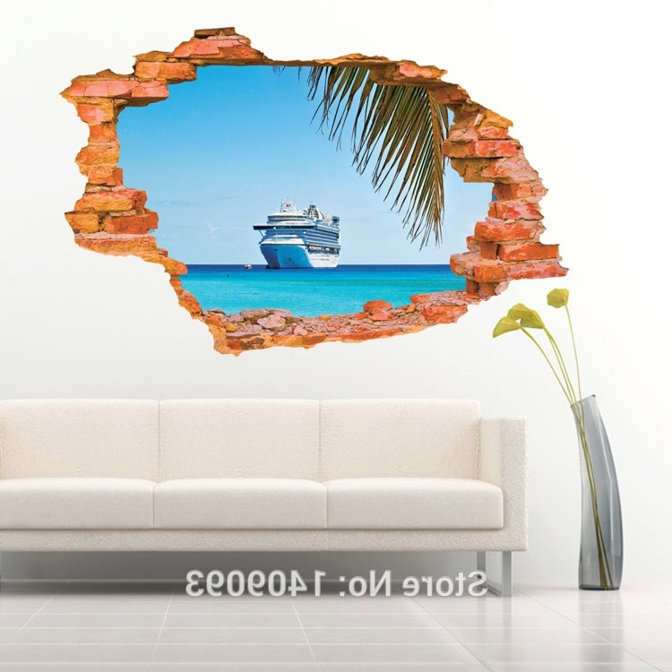 New Fashion 2016 Pastoral 3D Wall Sticker Brick Sea Landscape Regarding Widely Used Vinyl 3D Wall Art (View 14 of 15)