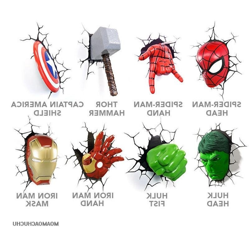 New Marvel Hero Avengers 3D Wall Light Set Of 8. Art Deco, Bundle Intended For Well Known Avengers 3D Wall Art (Gallery 9 of 15)