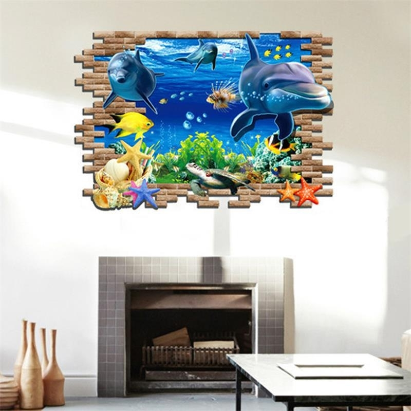 New Sea Whale Fish 3D Wall Stickers For Kids Room Decoration Diy Pvc With Favorite Fish 3D Wall Art (Gallery 4 of 15)