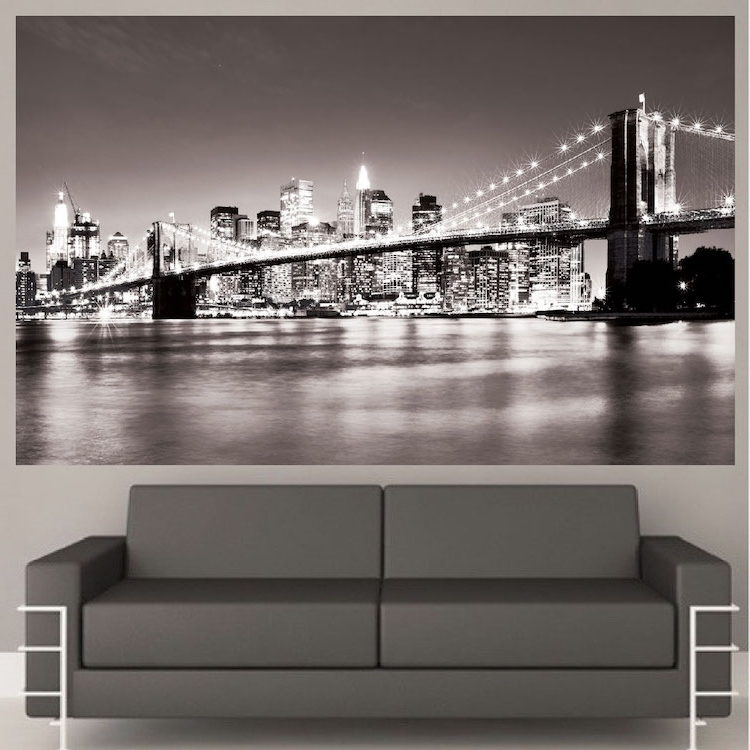 New York Bridge Mural Decal – View Wall Decal Murals – Primedecals Intended For 2018 Brooklyn Bridge Wall Decals (Gallery 6 of 15)