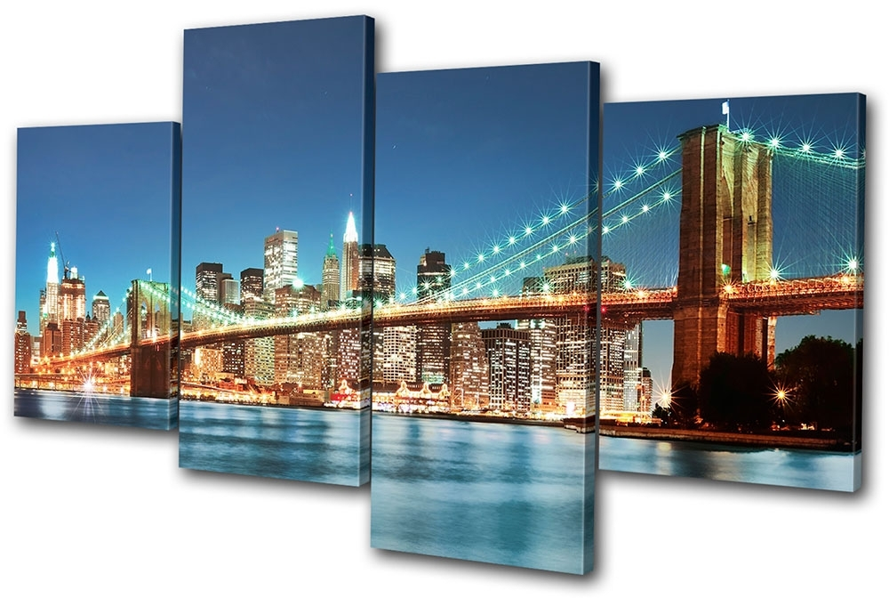 New York City Canvas Wall Art In Best And Newest New York Skyline Bridge City Multi Canvas Wall Art Picture Print Va (View 5 of 15)