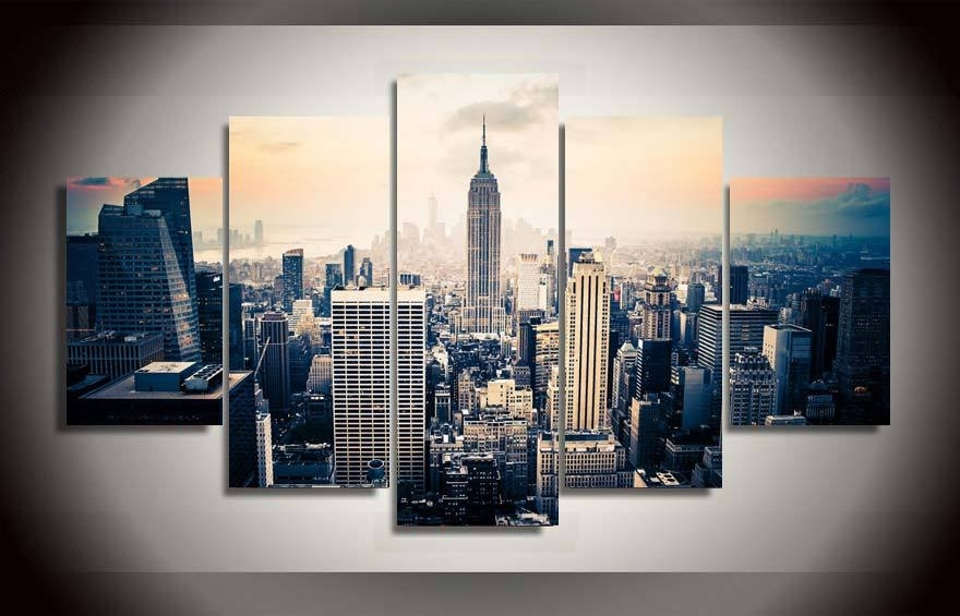 New York City Canvas Wall Art With Regard To Famous 5 Panels Fashion New York City Art Paintings Wall Art 5 Piece Prints (View 12 of 15)