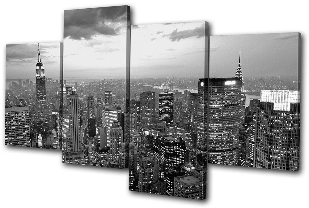 New York Nyc Skyline City Multi Canvas Wall Art Picture Print Va Regarding Newest Black And White New York Canvas Wall Art (Gallery 3 of 15)