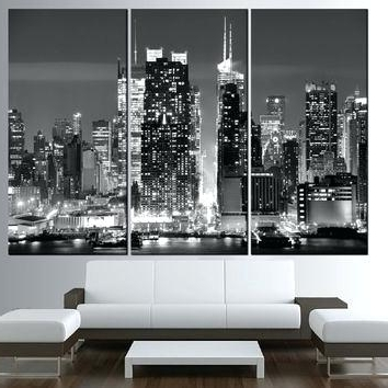 New York Skyline Canvas Black And White Wall Art In 2017 City Wall Art Canvas 1 Piece Canvas Wall Art Blue City Artwork City (View 10 of 15)