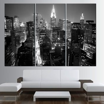 New York Skyline Canvas Black And White Wall Art Within Recent New York City Manhattan Skyline Wall Art Canvas Print, Black And (View 13 of 15)