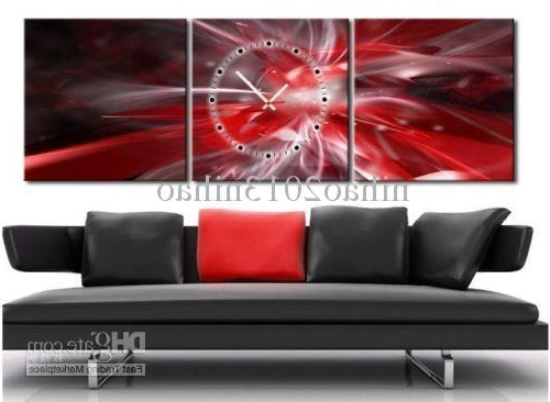 Newest 2018 Red & Silver Abstract Canvas Prints Set Of 3 With Clock Intended For Abstract Wall Art Prints (Gallery 11 of 15)