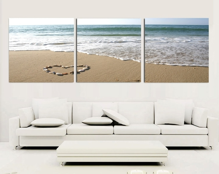 Newest 3 Piece Beach Wall Art Within 3 Piece Canvas Wall Art Sets Beach Painting Heart Stone Oil (View 3 of 15)