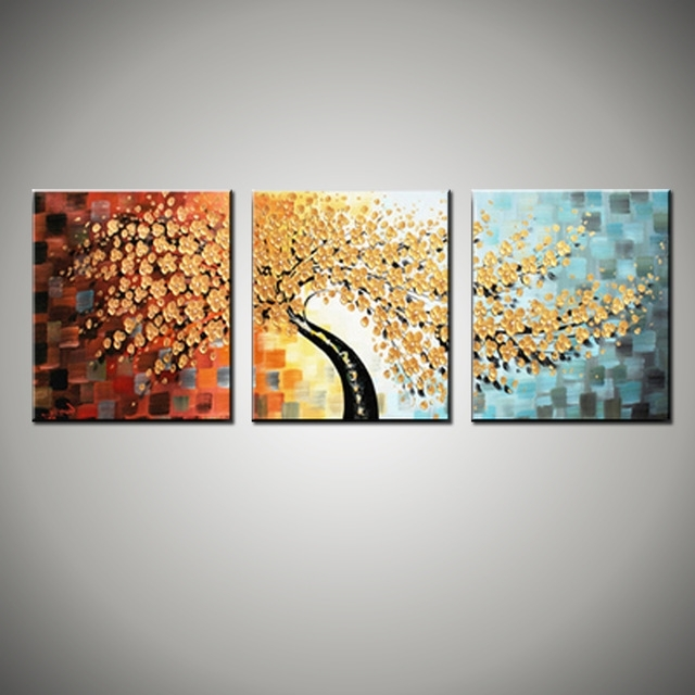 Newest 3 Piece Canvas Wall Art Wall Picture Modern Flower Colorful Acrylic With 3 Piece Floral Canvas Wall Art (Gallery 1 of 15)