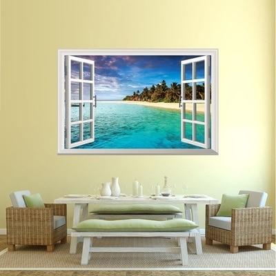 Newest 3D Wall Art Beach Scene Modern Home Decal Wall Sticker Ocean Throughout Beach 3D Wall Art (Gallery 12 of 15)