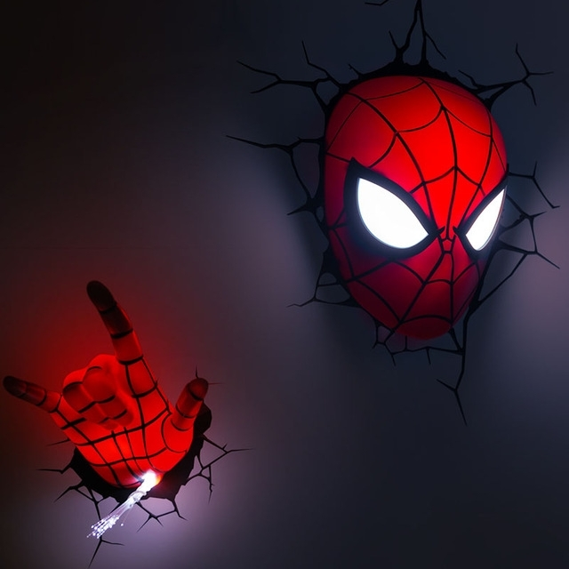 Newest 3D Wall Art Night Light Spiderman Hand Intended For The Avengers Hand Spider Man Mask Hand Style Wall Lamp 3D Deco Led (View 4 of 15)