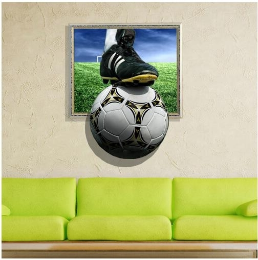 Newest 3D Wall Stickers Football Painting Kid's Room Ceiling Paintings Regarding Football 3D Wall Art (View 15 of 15)