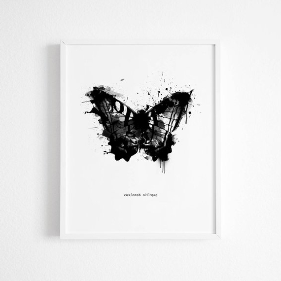 Newest Abstract Butterfly Wall Art Throughout Black And White Abstract Butterfly Wall Art Butterfly Art (Gallery 3 of 15)