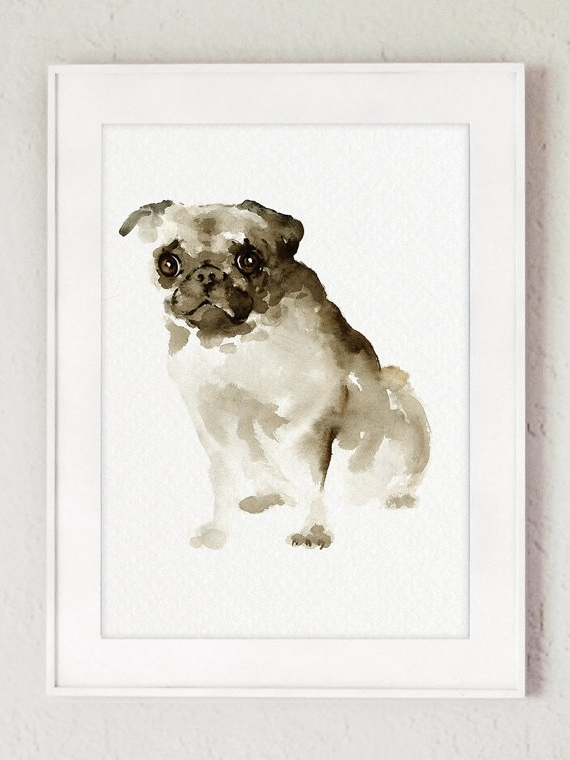 Newest Abstract Dog Wall Art Regarding Pug Dog Wall Art, Watercolor Painting, Brown Dog Portrait, Pet Wall (View 11 of 15)