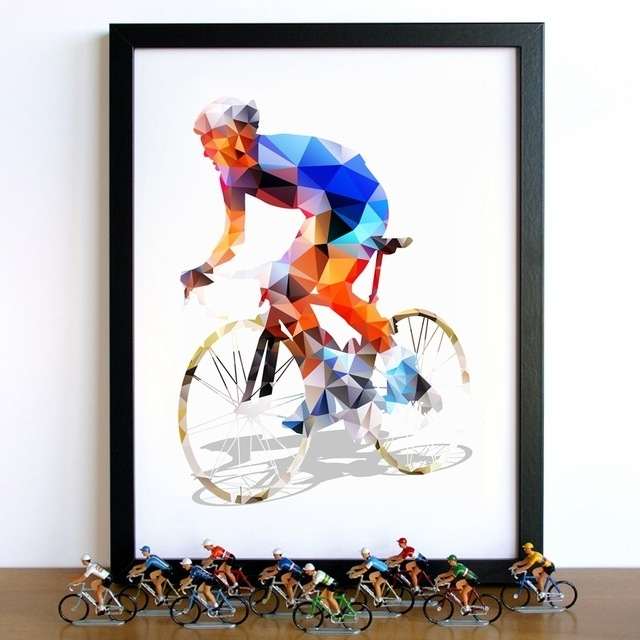 Newest Abstract Geometrical Polygonal Cyclist Canvas Art Painting Wall In Cycling Wall Art (View 10 of 15)
