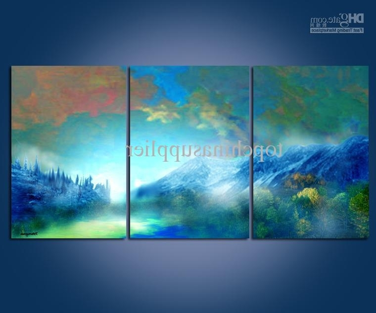 Newest Abstract Landscape Wall Art With Regard To 2018 Modern Art Abstract Landscape Oil Painting Wall Decor 40X60Cmx3 (Gallery 5 of 15)