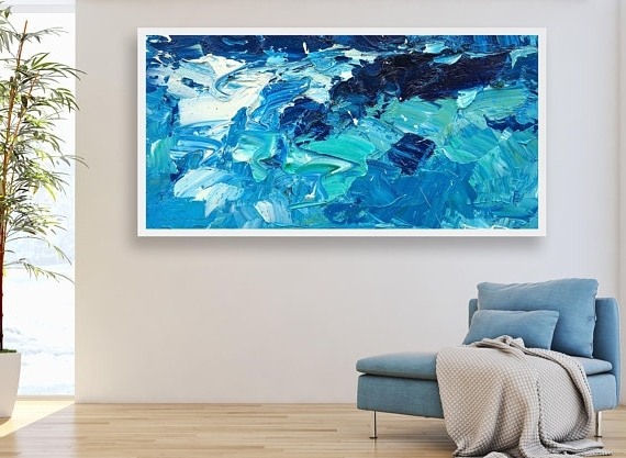 Newest Abstract Office Wall Art Intended For Extra Large Wall Art Ocean Painting Sea Painting Abstract Art (Gallery 7 of 15)