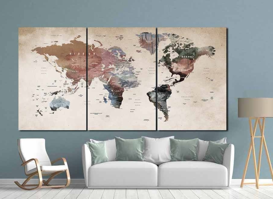 Newest Abstract World Map Wall Art With Regard To World Map Wall Art,world Map Canvas,world Map Print,large World Map (Gallery 13 of 15)
