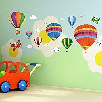 Newest Air Balloon 3D Wall Art Pertaining To Amazon: Amaonm Removable Creative 3D Hot Air Balloon Aircraft (View 4 of 15)