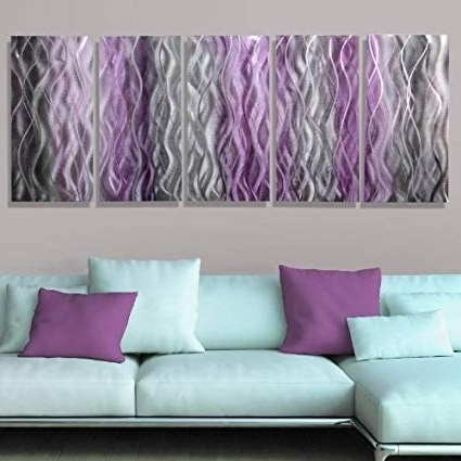 Newest Amazon: Beautiful Silver With Fusions Of Purple & Black Abstract Throughout Purple And Grey Abstract Wall Art (Gallery 11 of 15)
