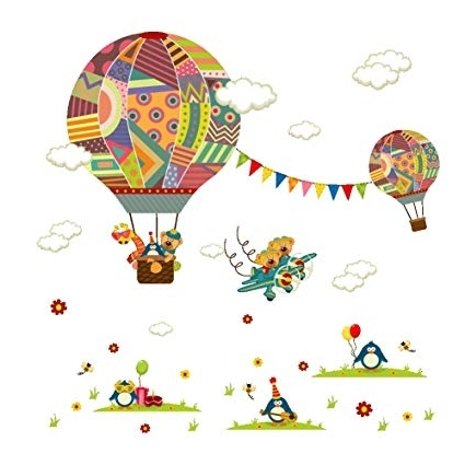 Newest Amazon: Creative 3D Removable Hot Air Balloon Aircraft And Smile With Air Balloon 3D Wall Art (Gallery 11 of 15)