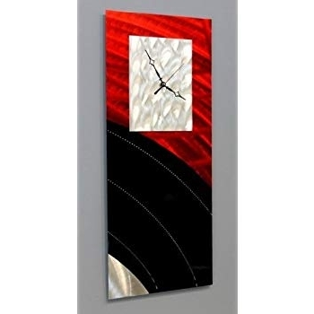Newest Amazon: Red Metal Decorative Wall Clock, Abstract Modern Clock Pertaining To Abstract Metal Wall Art With Clock (View 14 of 15)