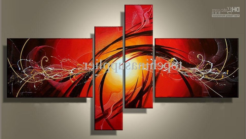Newest Art Modern Abstract Oil Painting Multiple Piece Canvas Art Sets In Wall Art Multiple Pieces (View 5 of 15)