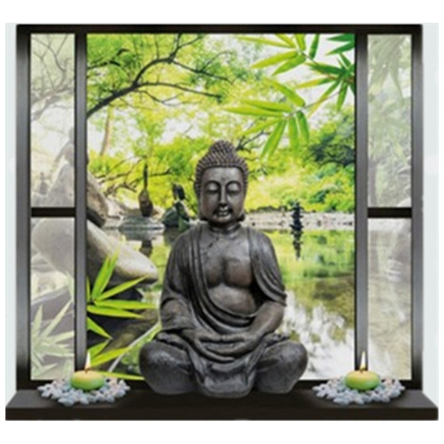 Newest Buddha Statue Fake 3D Window Vinyl Stickers Garden Scenery Wall Art Throughout 3D Buddha Wall Art (View 12 of 15)