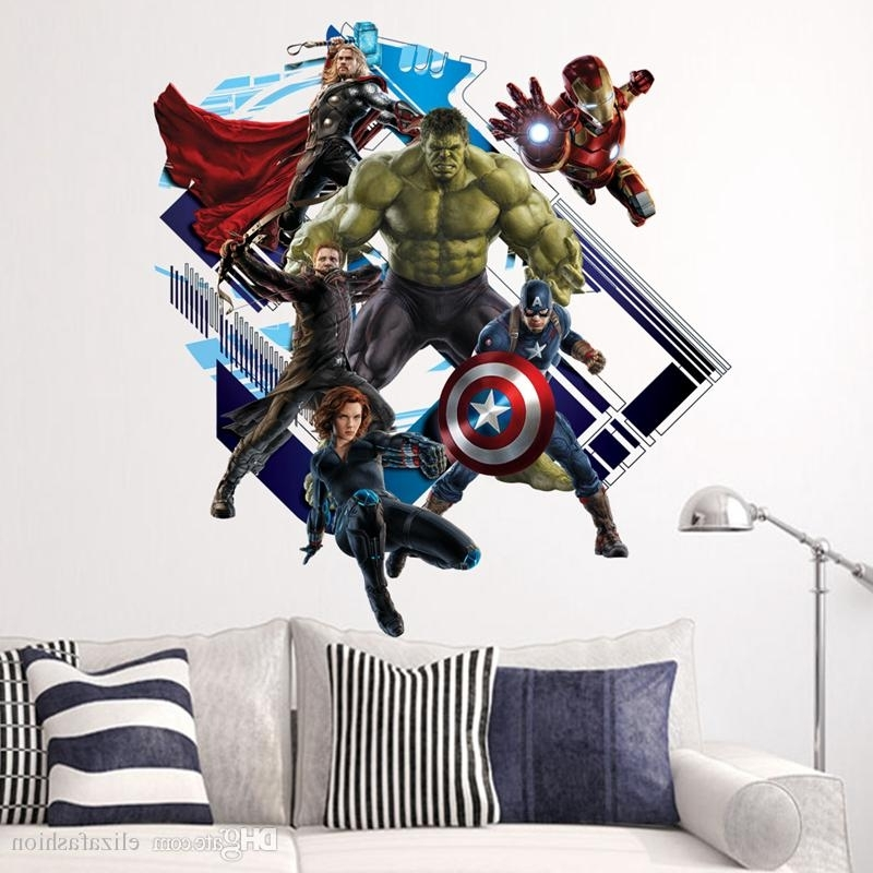 Newest Captain America 3D Wall Art In Avengers Superheroes Wall Stickers For Kids Room Decoration 3D (Gallery 7 of 15)